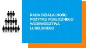 po lewej na białym polu graficzne sylwetki ludzi ustawione w trójkąt, z prawej na niebieskim polu napis rada działalności pożytku publicznego województwa lubelskiego.