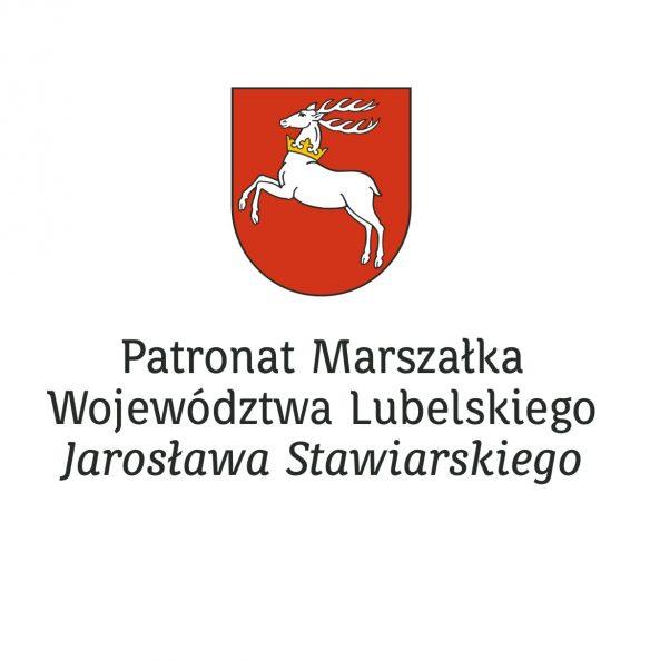 Herb województwa lubelskiego. poniżej napis PAtronat Marszalka Województwa Lubelskiego Jarosława Stawiarskiego
