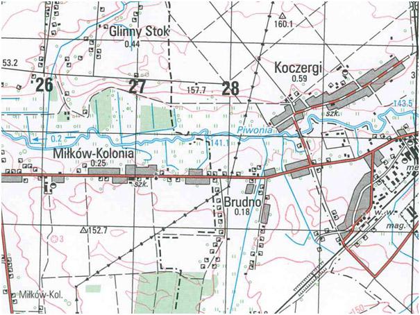 Fragment mapy topograficznej VMap level2 w skali 1:50 000, układ WGS-84 (przykład)