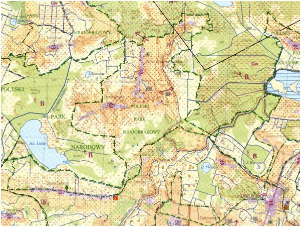 Fragment mapy sozologicznej (przykład)