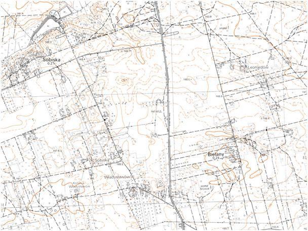 Fragment niestandardowej mapy topograficznej 1:10 000 układ 1965 (przykład)