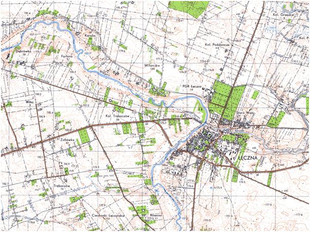 Fragment niestandardowej mapy topograficznej czterokolorowej 1:25 000 układ 1965 (przykład)