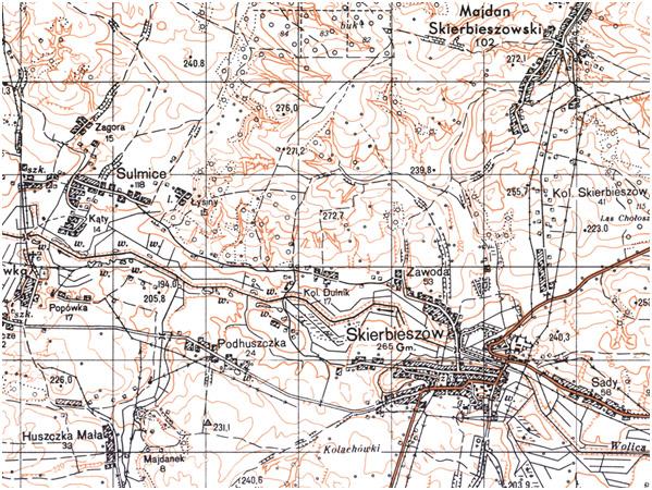 Fragment niestandardowej mapy topograficznej dwukolorowej 1:25 000 układ 1965 (przykład)