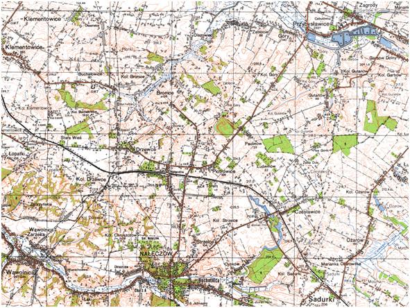 Fragment niestandardowej mapy topograficznej 1:50 000 układ 1965 (przykład)
