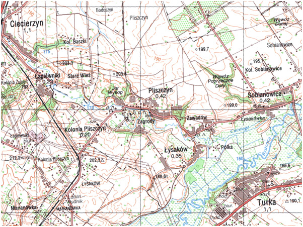Fragment niestandardowej mapy topograficznej 1:50 000 układ 1992 (przykład)