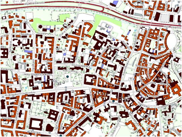 Wizualizacja BDOT10k dla fragmentu obszaru miasta Lublin. *Wizualizacja bazy BDOT10k dla obszaru województwa lubelskiego dostępna jest dla stronie internetowej www.gis.lubelskie.pl w zakładce Geodezyjny Portal Mapowy.