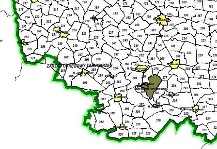Fragment mapy przeglądowej obwodów łowieckich
