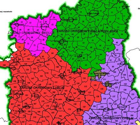 Fragment mapy przeglądowej Zarządów Okręgowych