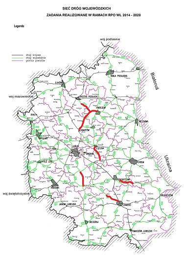 Mapa z zaznaczonymi inwestycjami drogowymi finansowanymi w ramach RPO WL
