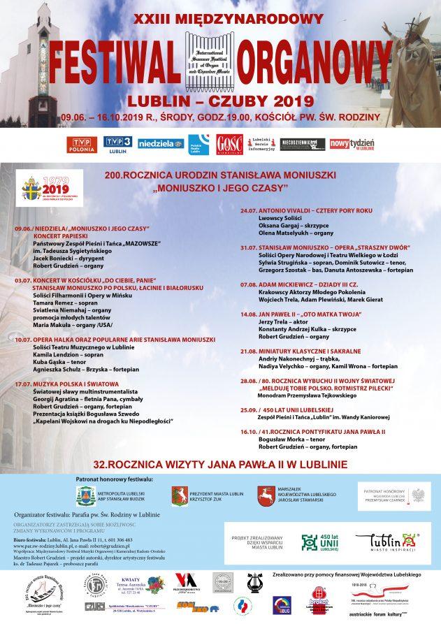 """""""Moniuszko i jego czasy"""" XXIII Międzynarodowy Festiwal Organowy Lublin – Czuby 2019"""