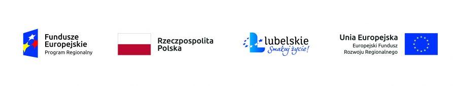 Od lewej: Logo Funduszy Europejskich - Program Regionalny, flaga Rzeczpospolitej Polskiej, logo Lubelskie Smakuj Życie, flaga Unii Europejskiej - Europejski Fundusz Rozwoju Regionalnego