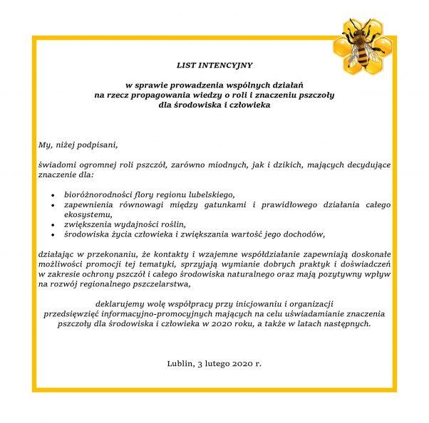 Grafika przedstawia treść listu intencyjnego w sprawie prowadzenia wspólnych działań na rzecz propagowania wiedzy o roli i znaczeniu pszczoły dla środowiska i cżłowieka.