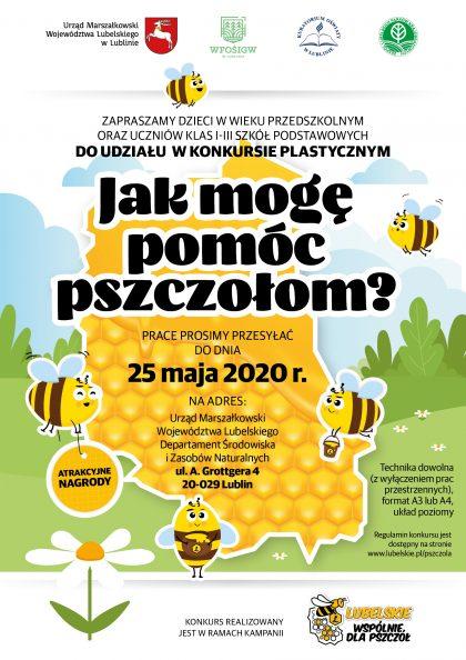 """Plakat zawierający informacje o konkursie plastycznym pt. """"jak mogę pomóc pszczołom?"""","""