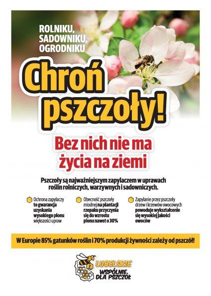 Ulotka akcji chroń pszczoły bez nich nie ma życia na ziemi - strona pierwsza