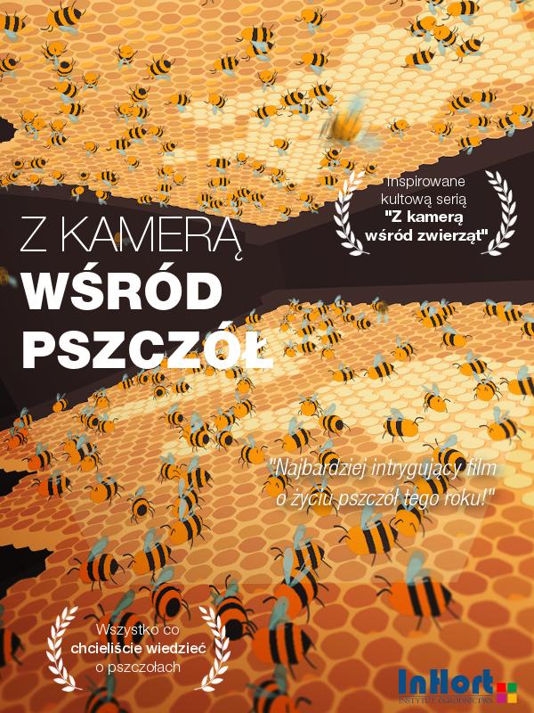 plakat przedstawiający serię filmową z kamerą wśród pszczół