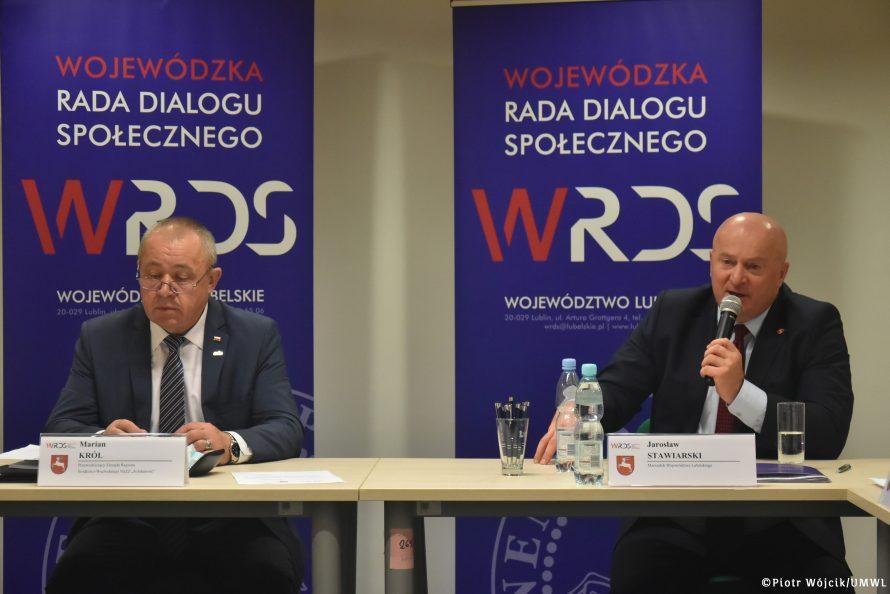 Od lewej Marian Król Przewodniczący WRDS i Marszalek Województwa Lubelskiego - Wiceprz\ewodniczący WRDS WL podczas posiedzenia Prezydium WRDS WL