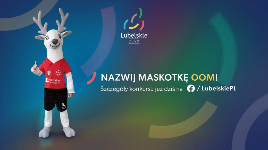 grafika przedstawia po lewej zdjęcie maskotki OOM, na środku powyżej logo wydarzenia. poniżej napis nazwij maskotkę OOM! Szczegóły konkursu już dziś na facebook lubelskiePL