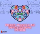 Plakat wydarzenia. Motyw ludowy wpisany w kształt serca, poniżej napis Piękno tradycji we współczesnym świecie