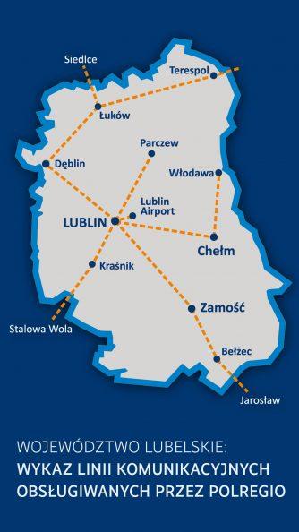Graficzny schemat linii komunikacyjnych obsługiwanych przez Polregio. Na schemat województwa lubelskiego nałożone zostaly wybrane miasta połączone żółtą przerywaną linią.
