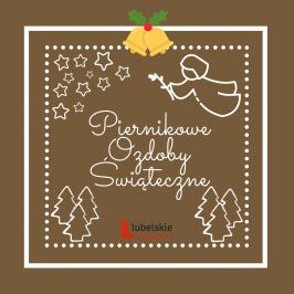 plakat konkursu piernikowe ozdoby świąteczne, gwiazdki, choinki, dzwonki