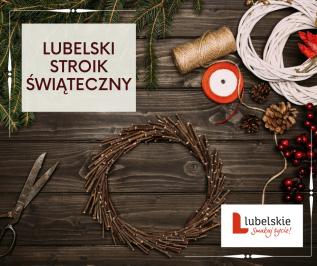 plakat konkursu lubelski stroik świąteczny, świerkowe gałązki, nożyce, sznurek