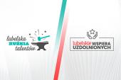 """połączone grafiki programów stypendialnych """"Lubelskie wspiera uzdolnionych"""" i """"Lubelska Kuźnia Talentów"""""""