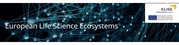 Grafika przedstawia punkty połączone w sieć. Napis w języku angielskim European Life Science Ecosystem. W górnym prawym rogu logo projektu ELISE