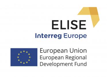 Logo projektu Elise Interreg Europe, poniżej flaga Unii Europejskiej, obok flagi napis w języku angielskim European Union European Regional Development Fund