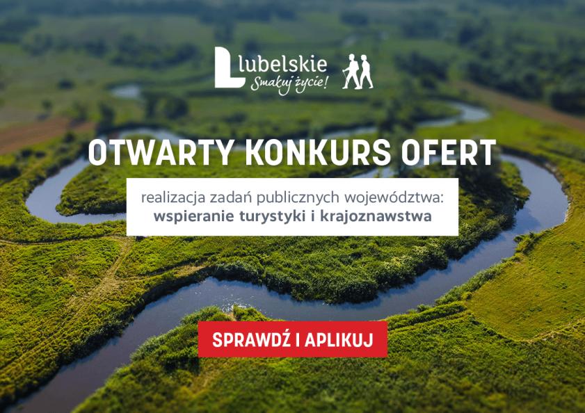 Napis: otwarty konkurs ofert realizacja zadań publicznych województwa wspieranie turystyki i krajoznawstwa, sprawdź i aplikuj, w tle meandrująca rzeka śród soczystej zieleni