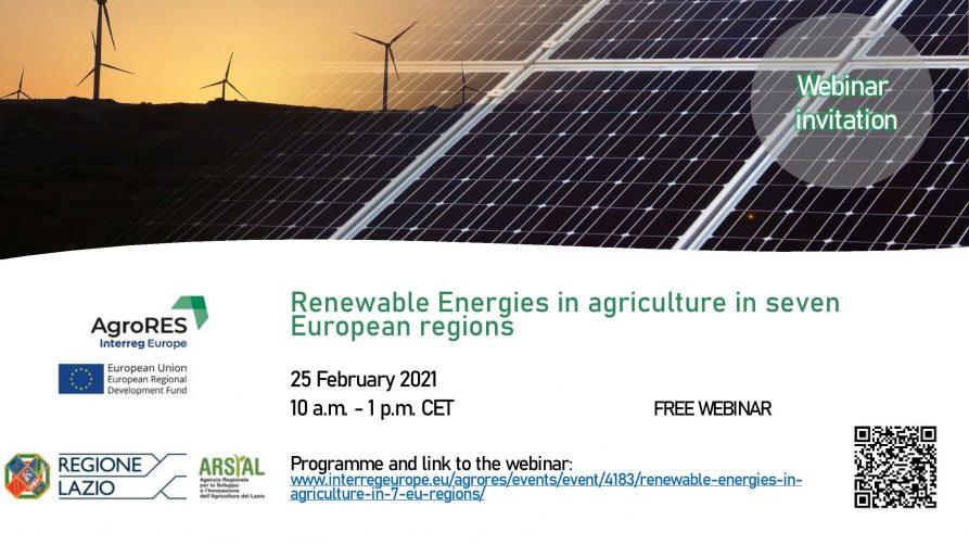 logo projektu agroRES, link na konferencje oraz w tle panele fotowoltaiczne