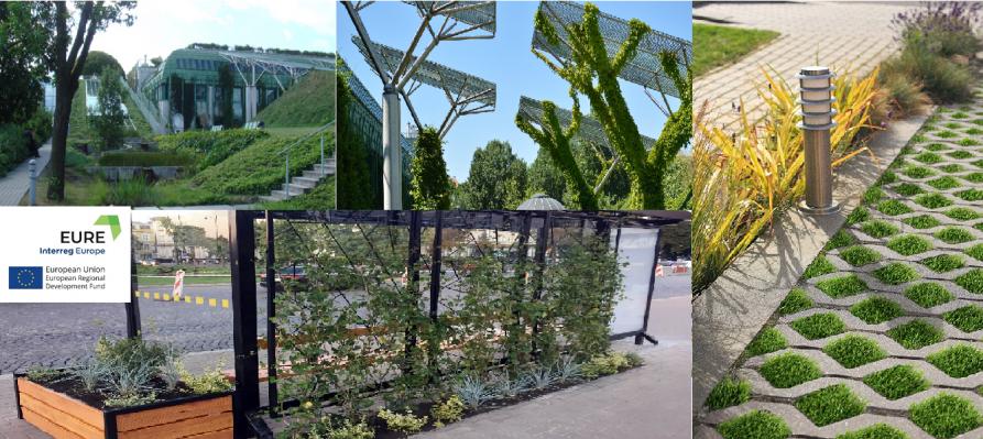 miks zdjęć przedstawiajacy zielone dachy, zielony przystanek, zielony parking oraz logo projektu EURE