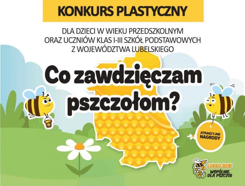 Baner zawiera tytuł konkursu i wymienia adresatów. Tekstowi towarzyszy dziecięca grafika z motywem pszczółki Julki i konturem województwa lubelskiego wypełnionego plastrem miodu.
