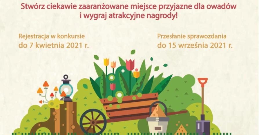 Infografika przedstawia kolorową wizualizację ogrodu, nad którą umieszczono zaproszenie do udziału w konkursie i podano terminy zgłoszeń