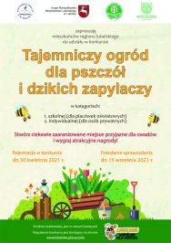 Plakat konkursu Tajemniczy ogród dla pszczół i dzikich zapylaczy