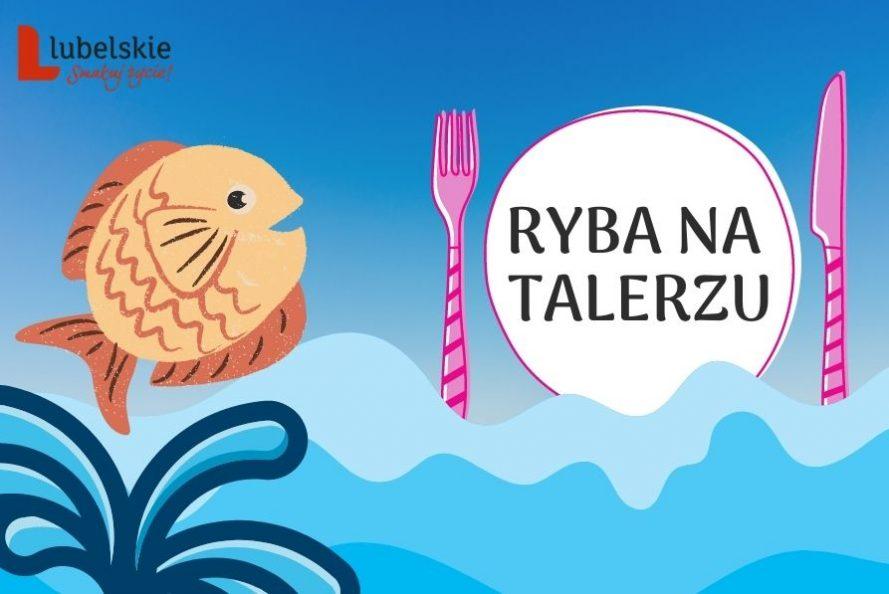 plakat konkursu: pomarańczowa ryba, talerz ze sztućcami po bokach, fale