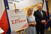 Na zdjęciu znajduje się Marszałek WL Jarosław Stawiarski Dyrektor Departamentu Zarządzania Regionalnym Programem Operacyjnym Anna Brzyska. Na zdjęciu są także dziennikarze oraz plansza z kwotą aloklacji.