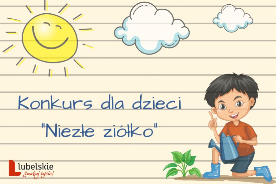 plakat konkursu - grafika przedstawiająca chłopca z konewką, podlewającego roślinkę, słońce i chmury