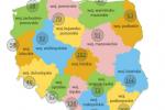 Produkty zarejestrowane na LPT wg województw (źródło: minrol.gov.pl)